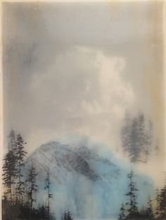 Brooks Shane Salzwedel, Blue Mountain, 2014, graphite, inkjet, tape, resin, panel, 16 x 12 inches
