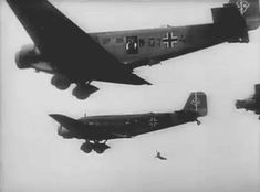 German Fallschrimjägers (paratroopers) jumping out of their Junkers Ju 52 over Crete. Narvik, Luftwaffe, Paratrooper, German Soldiers Ww2, German Army, Military Art, Military History, Battle Of Crete, Fighter Pilot