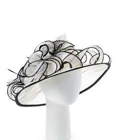 Another great find on #zulily! White & Black Feather Flower Sunhat #zulilyfinds