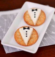 Tuxedo cheese and cracker appetizers.