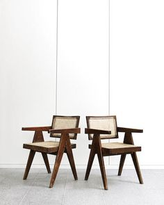 Pierre Jeanneret A Pair of PJ-SI-28-A Office Cane Chairs, circa 1955-56, designed for the Architects Office and Secretariat, Chandigarh teak and cane Height: 80.5 cm.31 11/16 in.