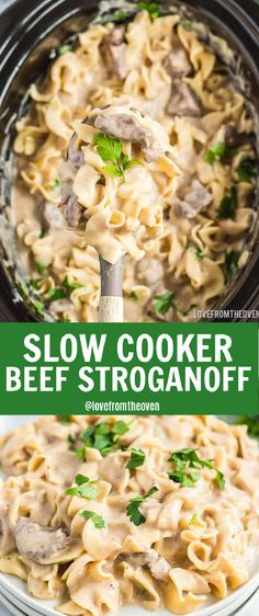 Beef And Noodles Crockpot, Crockpot Beef Stroganoff Recipe, Healthy Beef Stroganoff, Beef Stroganoff Sauce, Delicious Crockpot Recipes, Easy Pasta Recipes, Slow Cooker Easy Recipes, Slow Cooker Desserts, Crockpot Meals