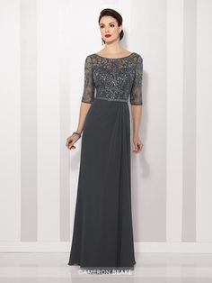 Cameron Blake - 216684 - Chiffon slim A-line gown with hand-beaded illusion three-quarter length sleeves and bateau neckline over sweetheart bodice, beaded natural waist, beaded illusion V-back, side gathered skirt. Sizes: 4 - 20 Colors: Spice, Charcoal