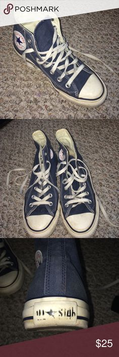 Navy Blue Hightop Converse All Star •Women's 7, Men's 5 •Good condition •Worn out but still in good condition •Worn out All Star sign on heel •Insides are good as new •The soles of the shoes are in great condition •Overall great condition for a hardly worn shoe!! Converse Shoes Sneakers
