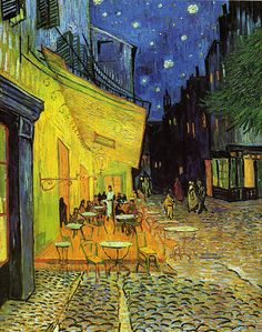 off Hand made oil painting reproduction of Cafe Terrace on the Place du Forum, one of the most famous paintings by Vincent Van Gogh. The first painting of Van Gogh's to feature his remarkable rendering of starry skies; Café Terrace on the Place . Art Van, Van Gogh Art, Vincent Van Gogh, Claude Monet, Van Gogh Pinturas, Most Famous Paintings, Famous Artwork, Famous Pieces Of Art, Van Gogh Museum