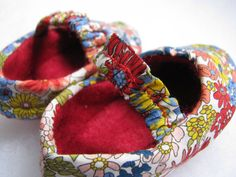 Chic Secret Garden baby red floral shoes unique baby by bootki, $30.00