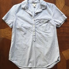 J.Crew Seersucker Short Sleeve Button Up Worn only a few times! Such a cute piece for the summer. J. Crew Tops Button Down Shirts