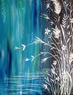 River's Edge painting. Pretty waterfall design with wildflowers.