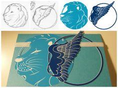 Taufkarte - Löwe & Taube Handicraft, Illustration, Kids Rugs, Drawings, Blog, Collection, Decor, Pigeon, Cards