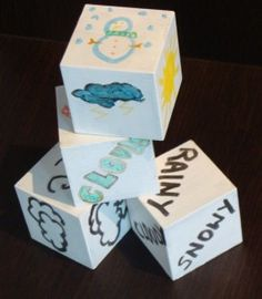 These cubes can be a study tool to understand weather and climate, they can be made out of real blocks that are painted on but I would probably use foldable cubes that the students could color on with crayons.