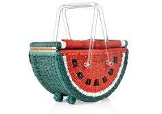 If all you've ever wanted was a wicker basket shaped like watermelon halved in two, then the Queen of Quirk & Kitsch Charlotte Olympia has the bag for you. From her S/S15 collection, it is quite literally what was just described above, a painted wicker bag woven in the shape of the juicy