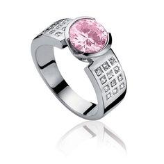 Zinzi: Speciale aanbieding: zilveren Zinzi ring gezet met een roze en vele kleine witte zirconia.