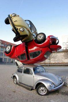 VW Beetle Art or bad valet parking. You decide ...