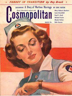 Nurse on cover of a WWII era Cosmopolitan magazine. Illustration by Bradshaw Crandall.
