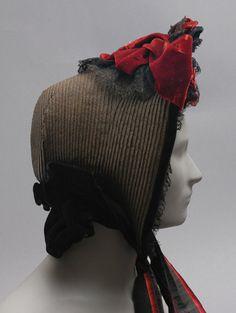 Bonnet: ca. 1853, American, straw, velvet, lace.