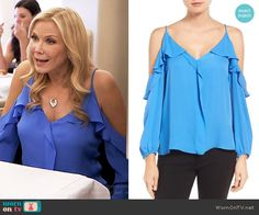 Brooke's blue cold-shoulder blouse on The Bold and the Beautiful.  Outfit Details: https://wornontv.net/67531/ #TheBoldandtheBeautiful