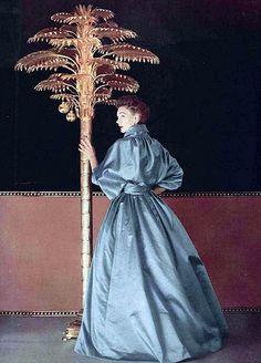 Sophie Malgat is wearing satin gown by Jacques Fath, L'Officiel 1952