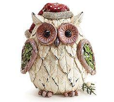 Christmas Owl Figurine with Santa Hat Adorable Holiday Decor. #SantaClaus #Santa #Claus #Christmas  #Figurine #Decor #Gift #gosstudio .★ We recommend Gift Shop: http://www.zazzle.com/vintagestylestudio ★