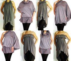 Convertible Wrap infini Multi façon robe tunique jupe