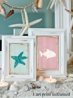 Items similar to Beach Print, Coastal Art, Nautical artwork, Stripes, Fish and Crab silhouette on Etsy Estilo Navy, Nautical Artwork, Coastal Art, Beach Print, Beach Crafts, Small Art, Craft Projects, Art Prints, Creative