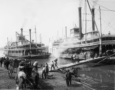 Riverboats moored on the Mississippi River, ca. 1880's #STLPRS Photo; LOC