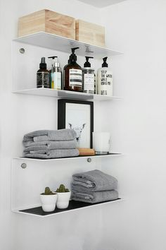"Small VIPP shelves give a bathroom a clean, modern aesthetic with their smooth and simple steel construction | 19.9"" W x 7.4"" D x 9"" H 