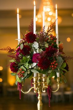 Lauren & David on Borrowed & Blue.    Designed by: La Petite Fleur www.lapetiteevents.com  Photo Credit: Carley K Photography  Gold Candelabra centerpiece, Fall tablescapes, Dahlia centerpiece, gold glamour wedding