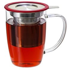 FORLIFE NewLeaf Glass Tea 16-Ounce Mug with Infuser and Lid, Red -- You can find more details by visiting the image link.
