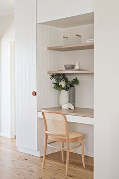 Interiors With Soft and Muted Colour // small home office design // built in desk and shelves Home Office Space, Home Office Design, Home Office Decor, House Design, Office Ideas, Tiny Office, Office Art, Desk Nook, Wall Nook