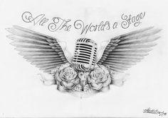 – initial tattoo – - Famous Last Words Music Tattoo Designs, Best Tattoo Designs, Music Tattoos, Body Art Tattoos, Pretty Tattoos, Cool Tattoos, Osiris Tattoo, Microphone Tattoo, Initial Tattoo