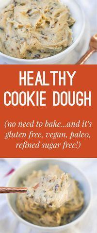 recipe for healthy no-bake cookie dough! Vegan, Gluten Free, Refined Sugar Free and Paleo!A recipe for healthy no-bake cookie dough! Vegan, Gluten Free, Refined Sugar Free and Paleo! Healthy No Bake Cookies, Healthy Cookie Dough, Healthy Chocolate Chip Cookies, Tasty Cookies, Cookies Vegan, Baking Cookies, Sugar Free No Bake Desserts, Sugar Cookies, No Sugar Snacks