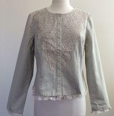 Sundance W's Jacket Sz P4 61481 Khaki Cotton Lace Front, Ruffle Trim $138.00 NWT #Sundance #CroppedJacket