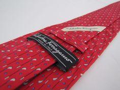 Auth SALVATORE FERRAGAMO Tie Red Golf Clubs Balls 100% Silk Italian Necktie #SalvatoreFerragamo #Tie