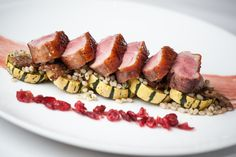 Pan Roasted Hudson Valley Duck Breast Stout Oak Farm's Baby Delicata, Toasted Barley, Duck Confit, Cranberry Two Ways