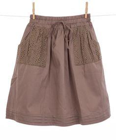 Loving this Taupe Eyelet Pocket Skirt - Toddler & Girls on #zulily! #zulilyfinds