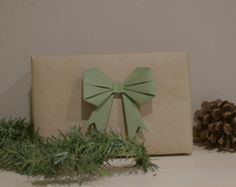 Olive Green Paper Bow. Christmas bow. Holiday bow. origami bow
