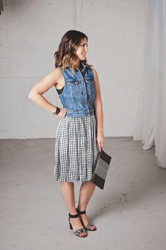 Kim Ray denim vests, how to wear denim jackets in the summer, midi skirts, gingham print for summer, leopard heels, aztec clutches