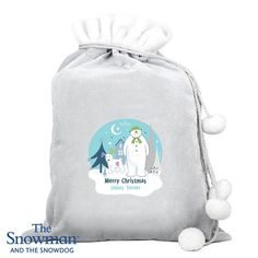 Personalised Luxury Silver Grey Christmas Sack - The Snowman & Snowdog Christmas Gifts For Pets, Christmas Cats, Merry Christmas, Snowman And The Snowdog, Santa Sack, Stocking Fillers, Cat Gifts, Gifts For Boys, Boy Or Girl