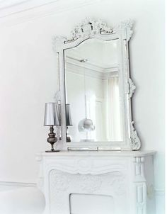ornate white frames mirror & stunning white fireplace #homedecor #interiordesign #french #parisian