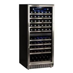 EdgeStar CWR1101DZ 23 Inch Wide 110 Bottle Built-In Wine Cooler with Dual Cooling Zones, Silver
