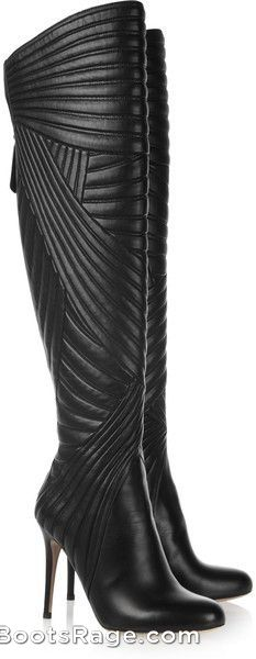VALENTINO | Black Stitched Leather Knee Boots - Women Boots And Booties