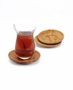 Olive wood Turkish tea cup holder