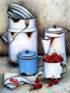 By Stella Bruwer white enamel cup, coffee pot and urn blue enamel cup.with lid white towel with red stripe cherries Tole Painting, Fabric Painting, Painting & Drawing, Decoupage Vintage, Decoupage Paper, Stella Art, Country Paintings, Farmhouse Paintings, Still Life Art