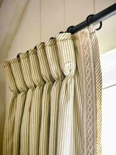 The Designer's Attic: Ticking Drapes with trim
