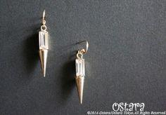【14KGF】Earrings, Rectangle Cone Acrylic Glass 14KGFピアス金具に16K Gold Plated(真鍮に16K...|ハンドメイド、手作り、手仕事品の通販・販売・購入ならCreema。