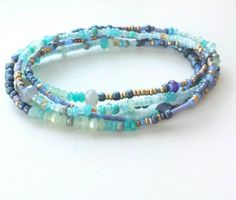 Iolite, Labradorite and Jade Long Seed Bead Wrap Bracelet - Nonadesigns Etsy shop https://www.etsy.com/listing/245235430/beaded-wrap-bracelet-with-glacier-blues