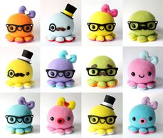 Custom Octopus Plush Toy - Choose colors and Accessories. $24.00, via Etsy. - Too cute for words!