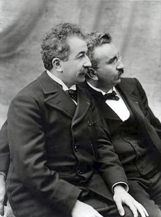 Auguste and Louis Lumière brothers seated looking left Moving Pictures, Old Pictures, Subtractive Color, Fritz Lang, Auguste, Silent Film, Pulp Fiction, Filmmaking, Movies