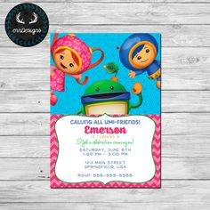Team Umizoomi Party Invitation by ERRdesigns on Etsy https://www.etsy.com/listing/231541958/team-umizoomi-party-invitation