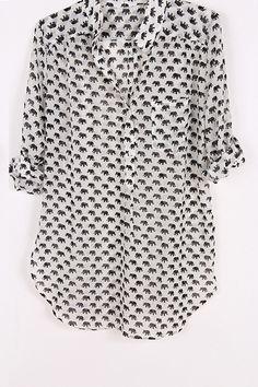 Ellie Shirt in White on Emma Stine Limited. Great print shirt